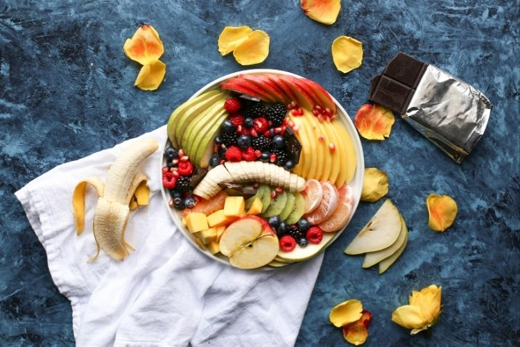 Bowl of mixed fruits for diabetes patient