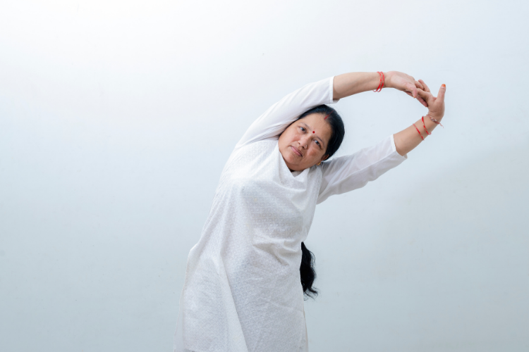 Indian Woman Doing Yoga To Prevent Diabetes