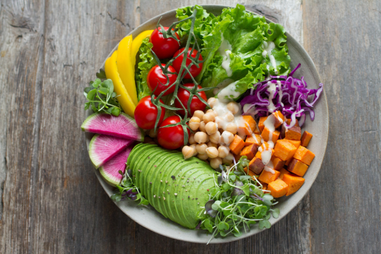 Plate of mixed vegetables that are filled with fiber perfect for hypertension patients in summer